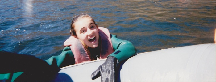 White water rafting 1999...I need to channel this girl for improv class