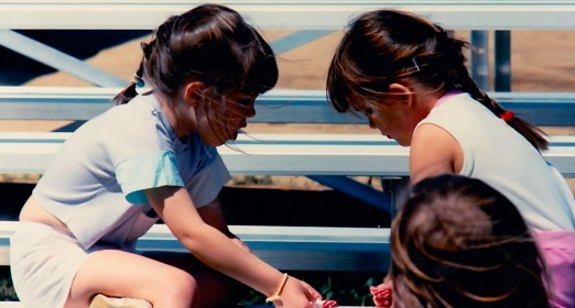Trading candy during Stephen's baseball practiceSpring 1989