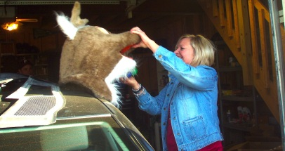 Mary Kay and her reindeer