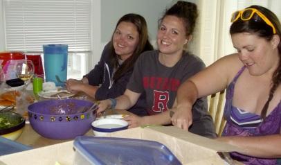 Sisters prepping the empanadas