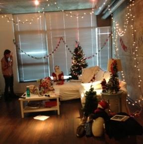 On set of Christmas fun